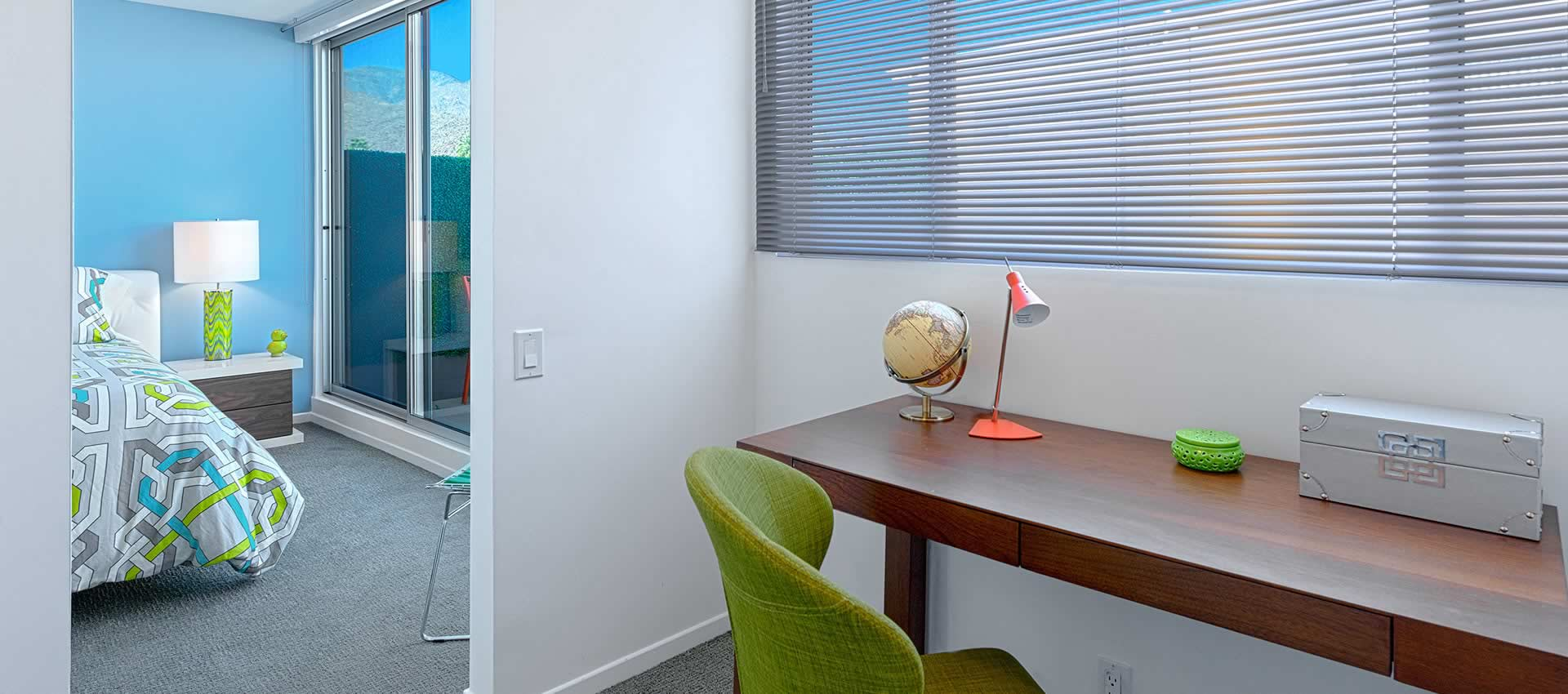 twist hotel room 216 work station desk with lamp just off the bedroom