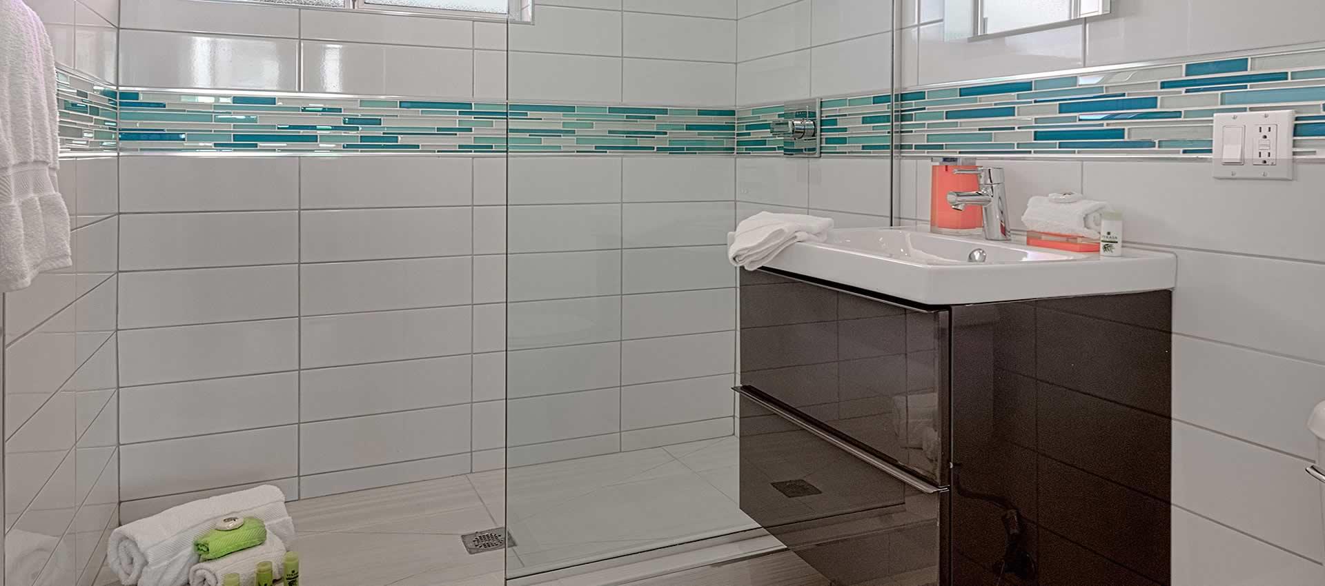 twist hotel room 217 bathroom with shower