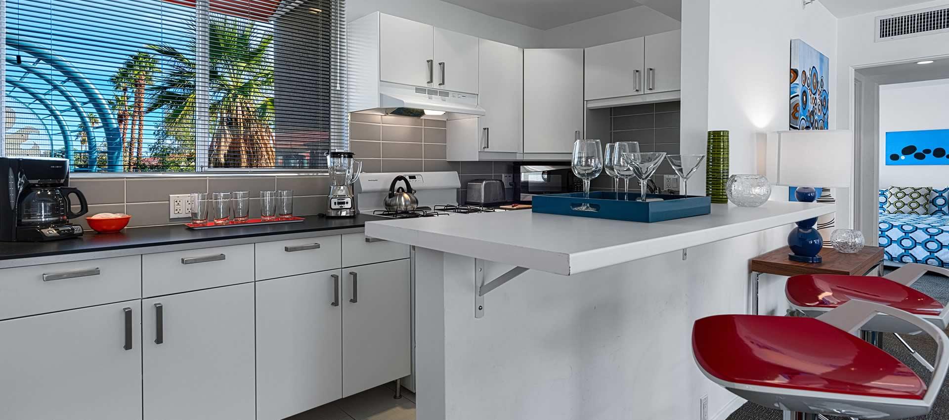 the kitchen of twist hotel room 218