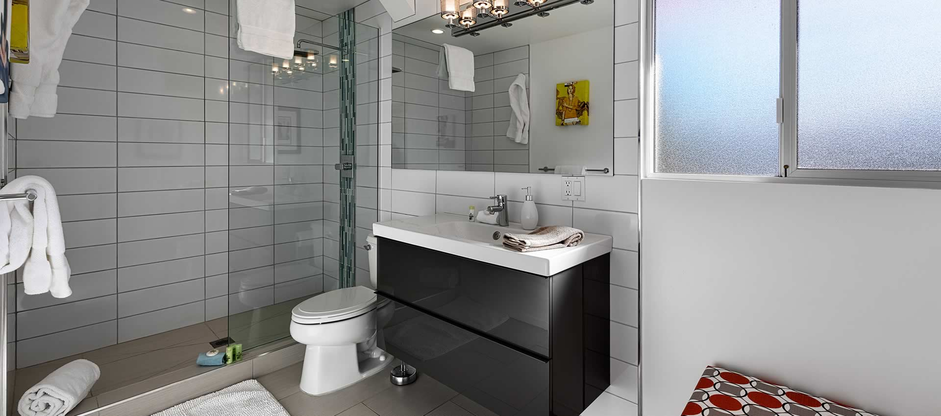 twist hotel room 219 bathroom with sink and shower