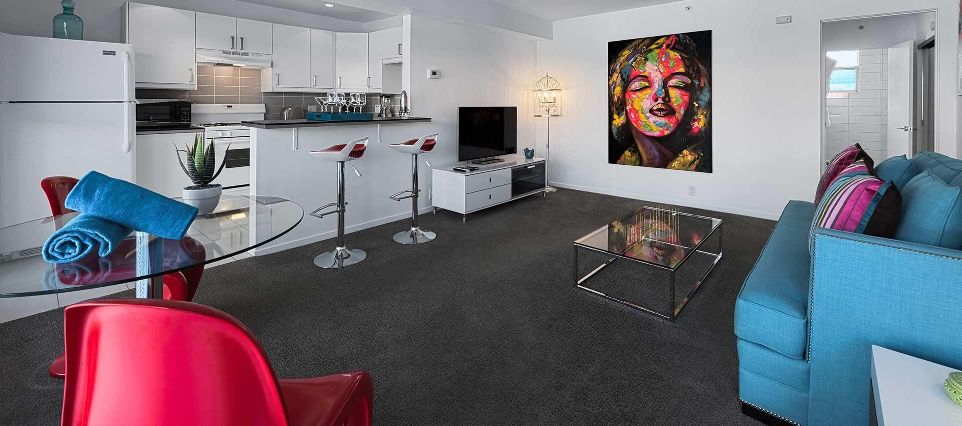 twist hotel living room modern couch kitchen