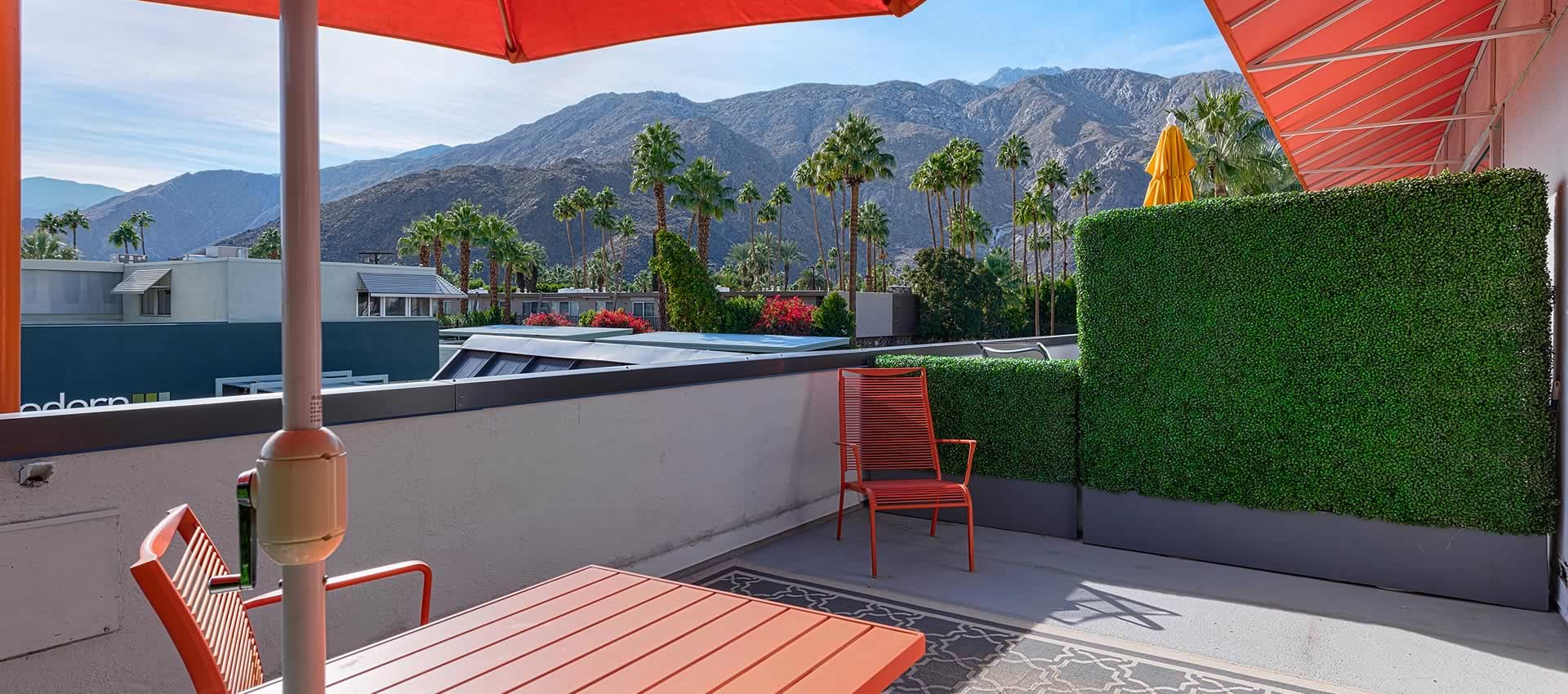twist hotel room deck view palm trees palm springs