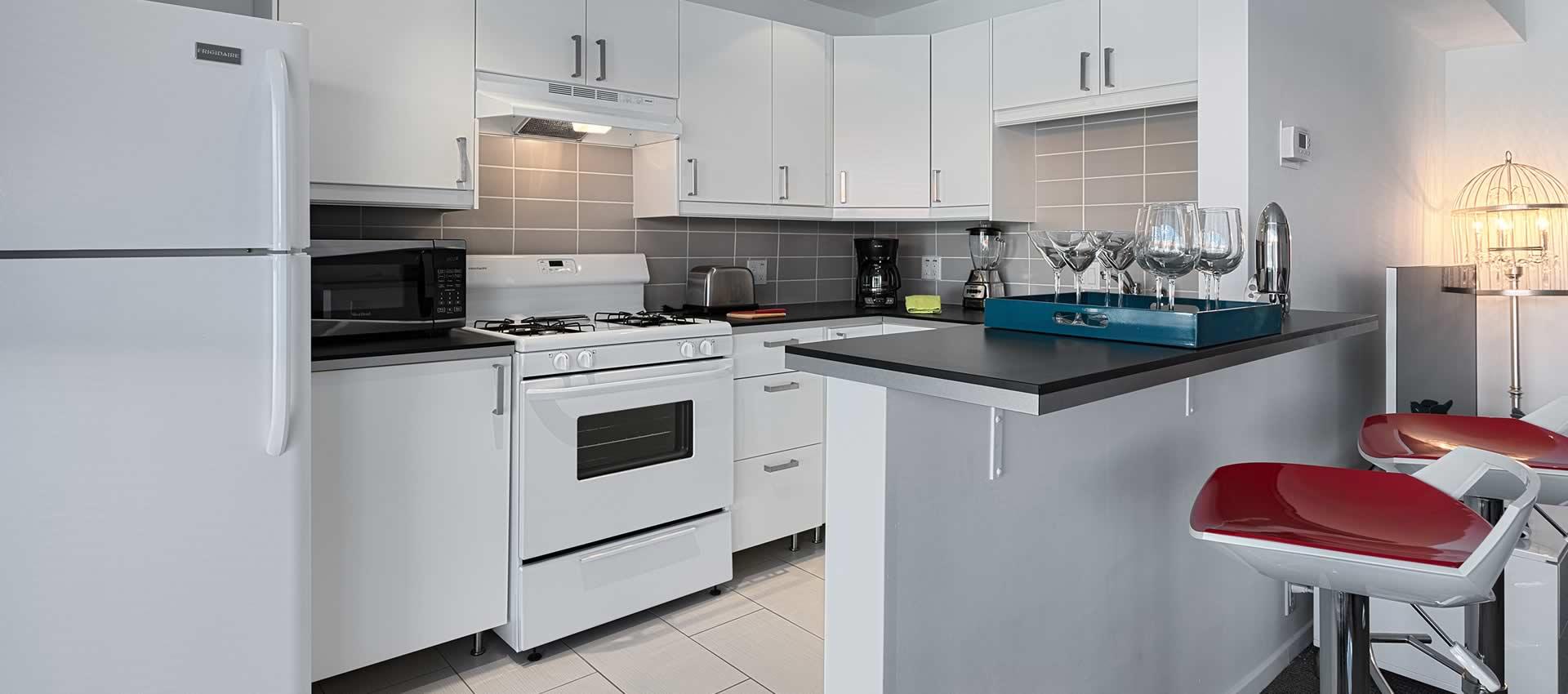 twist hotel room kitchen white modern