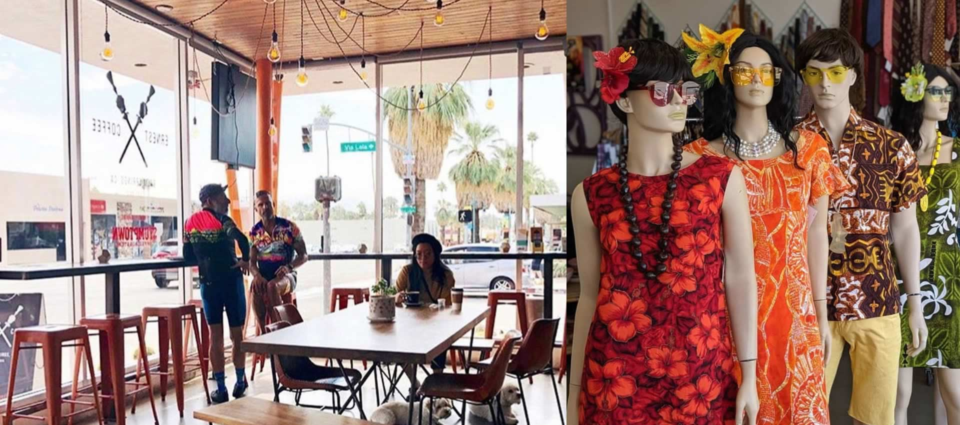 Trendy bright restaurant with windows boutique vintage clothing